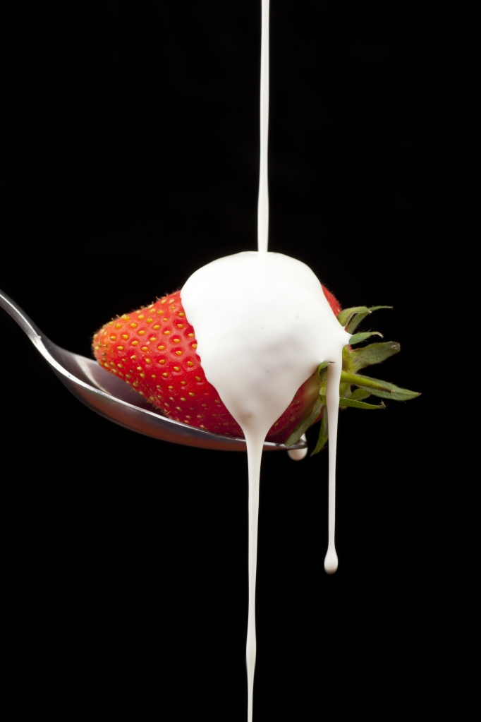 Strawberry dripping cream off spoon_embracedesires