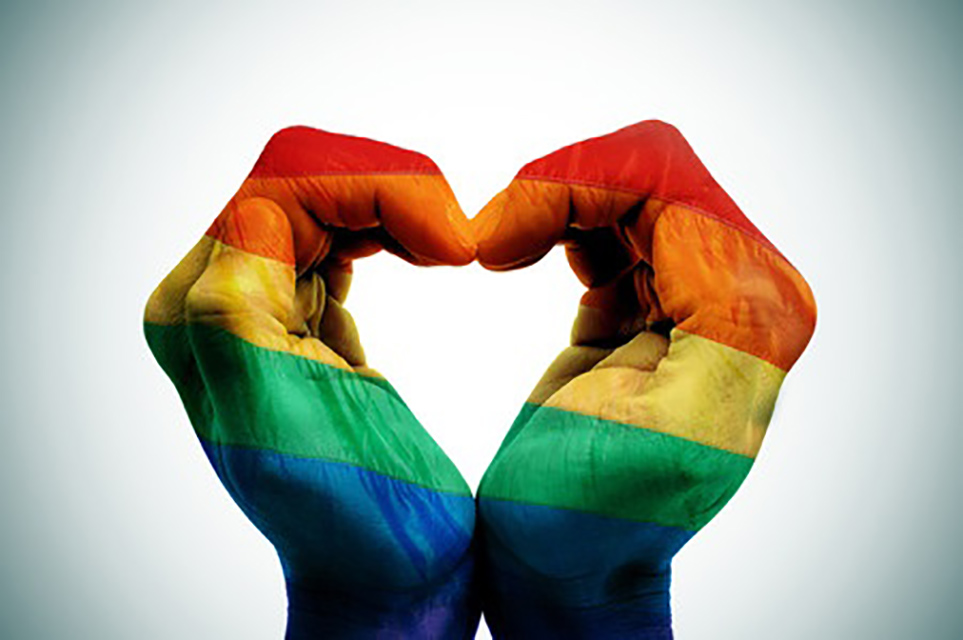 Rainbow Flag Heart Hand