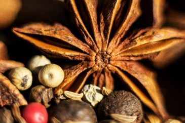 Oriental herbs and spices on a wooden background